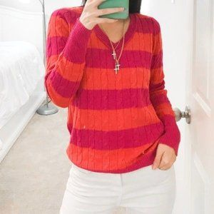 Petite Orange Pink V-Neck Knit Sweater